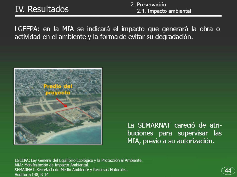 44 2.4. Impacto ambiental IV. Resultados Predio del proyecto La SEMARNAT careció de atri- buciones para supervisar las MIA, previo a su autorización.
