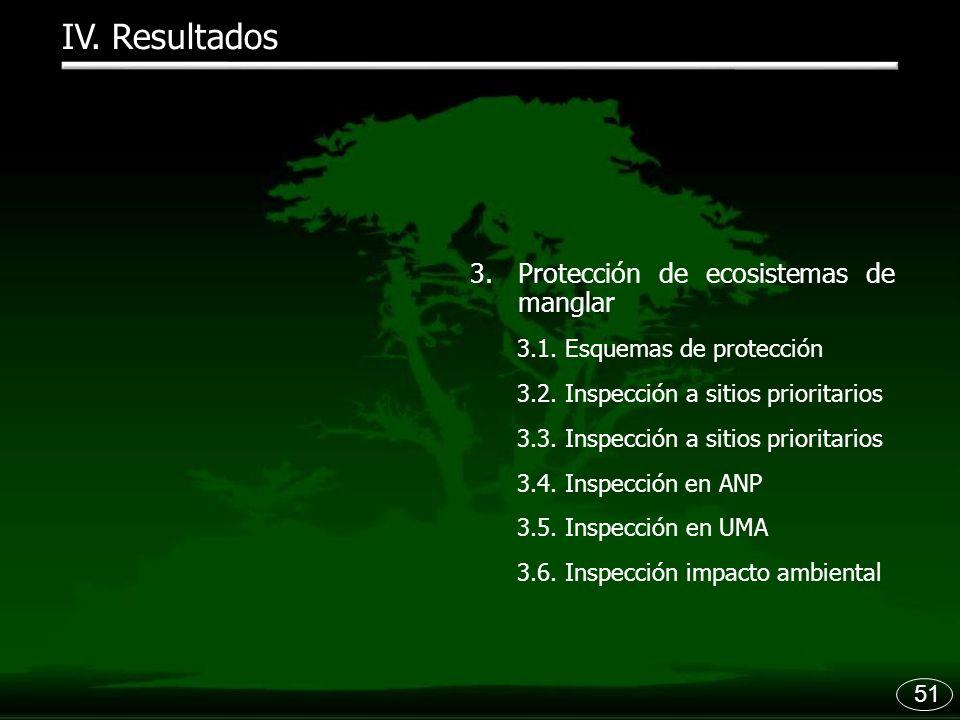 51 IV. Resultados 3.Protección de ecosistemas de manglar 3.1. Esquemas de protección 3.2. Inspección a sitios prioritarios 3.3. Inspección a sitios pr