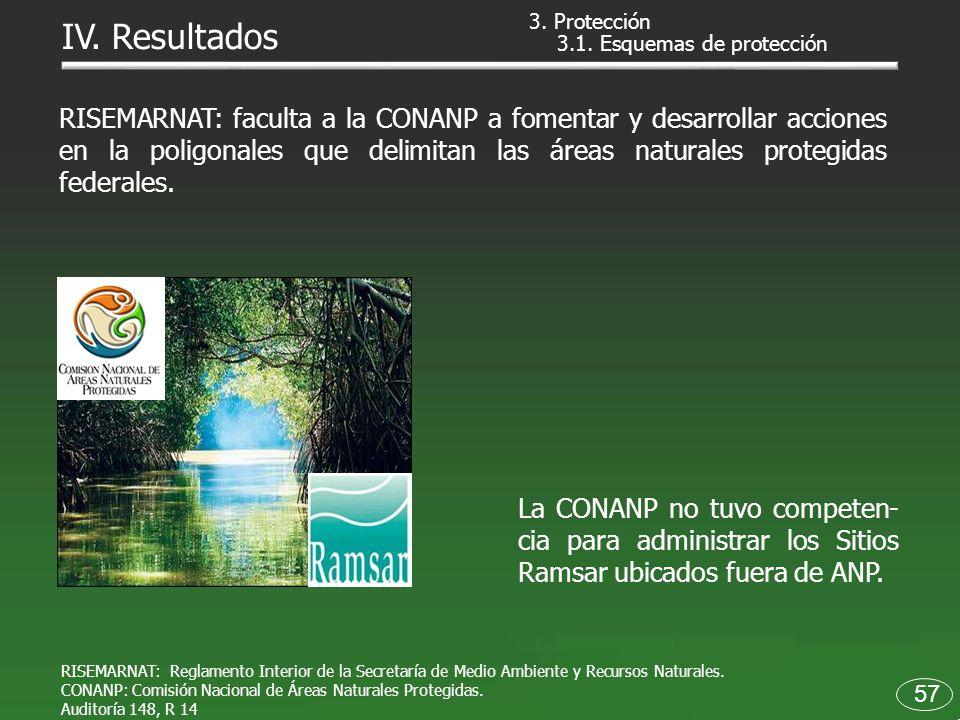 La CONANP no tuvo competen- cia para administrar los Sitios Ramsar ubicados fuera de ANP. 57 IV. Resultados RISEMARNAT: faculta a la CONANP a fomentar