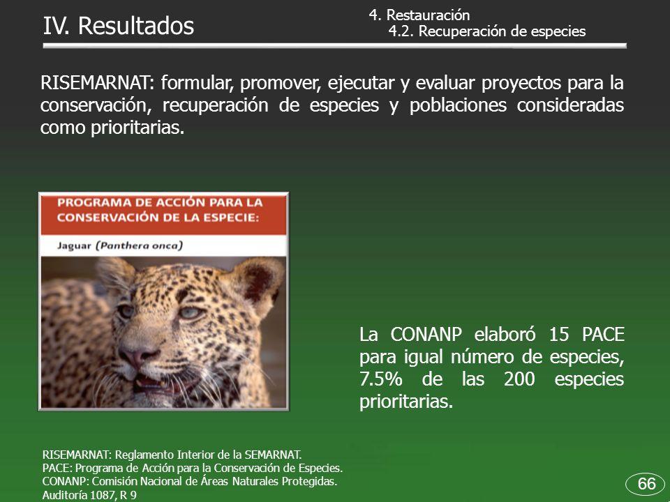 4.2. Recuperación de especies RISEMARNAT: Reglamento Interior de la SEMARNAT. PACE: Programa de Acción para la Conservación de Especies. CONANP: Comis