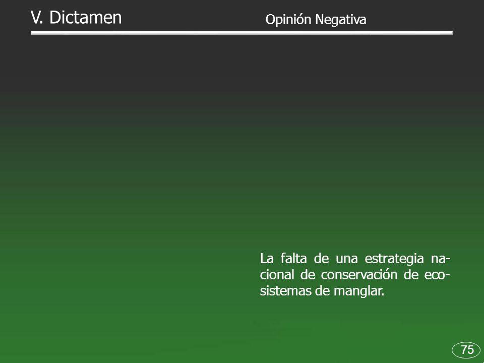 75 V. Dictamen La falta de una estrategia na- cional de conservación de eco- sistemas de manglar. Opinión Negativa