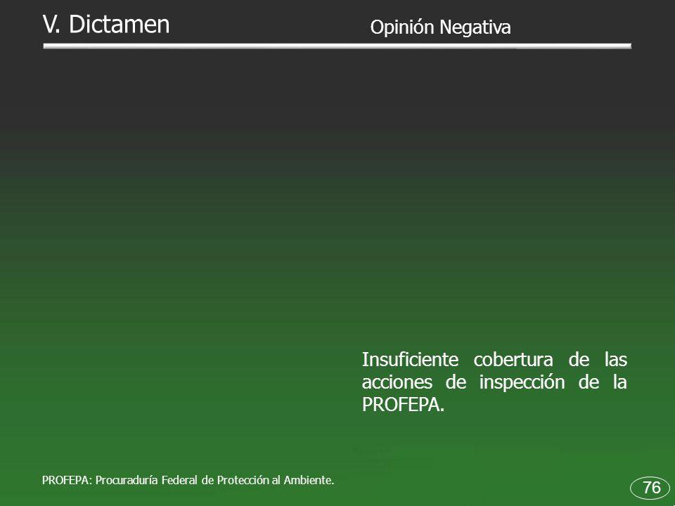 76 Insuficiente cobertura de las acciones de inspección de la PROFEPA. Opinión Negativa V. Dictamen PROFEPA: Procuraduría Federal de Protección al Amb