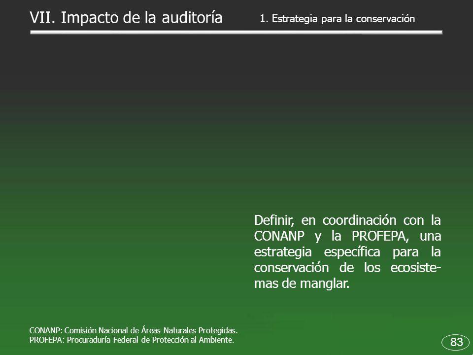 83 Definir, en coordinación con la CONANP y la PROFEPA, una estrategia específica para la conservación de los ecosiste- mas de manglar. 1. Estrategia