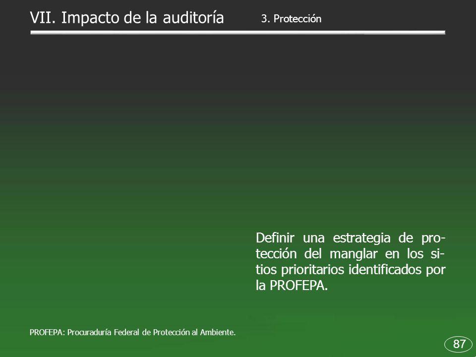 87 Definir una estrategia de pro- tección del manglar en los si- tios prioritarios identificados por la PROFEPA. 3. Protección VII. Impacto de la audi