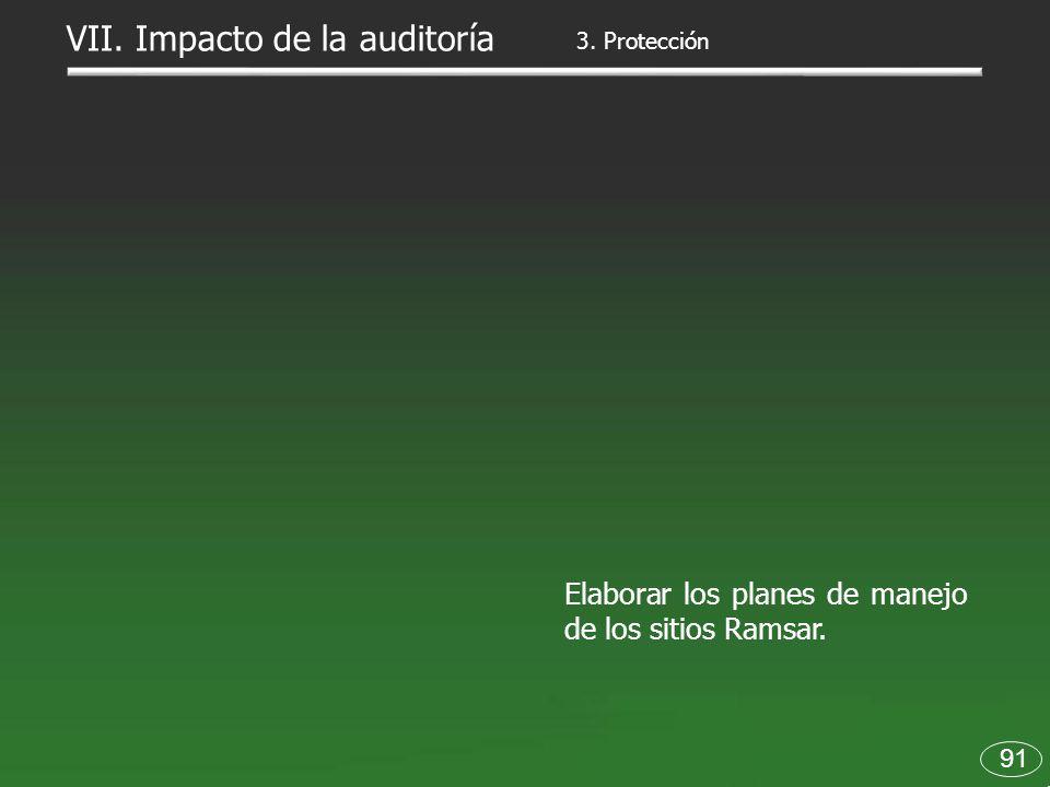 91 Elaborar los planes de manejo de los sitios Ramsar. 3. Protección VII. Impacto de la auditoría