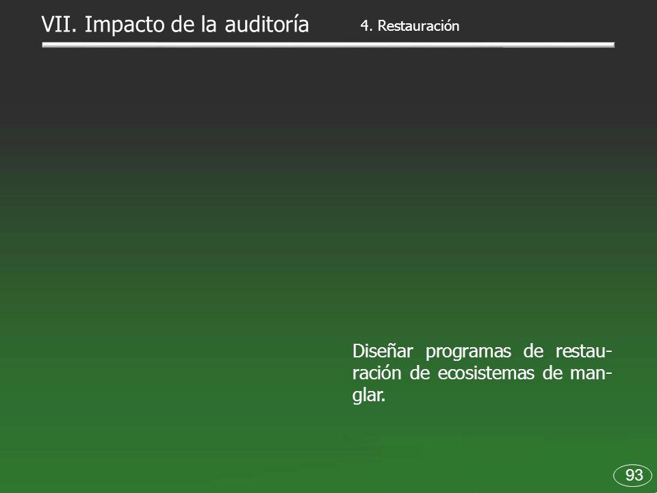 93 Diseñar programas de restau- ración de ecosistemas de man- glar. 4. Restauración VII. Impacto de la auditoría