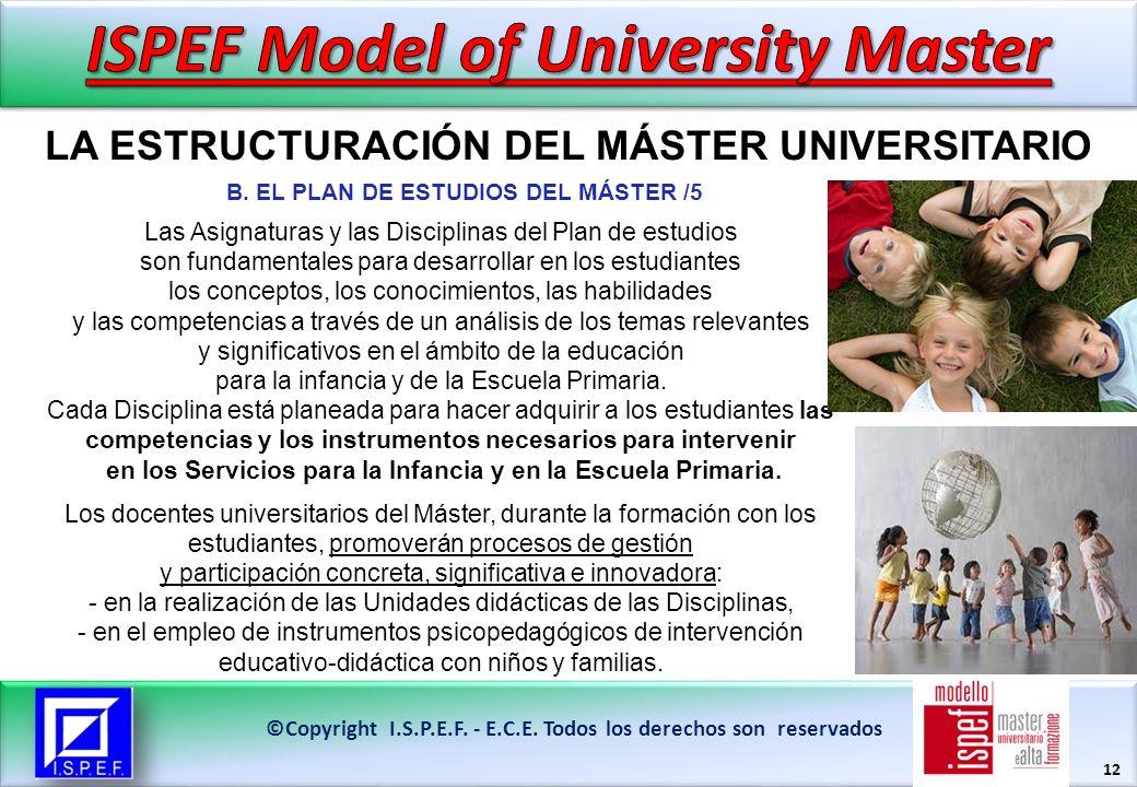 12 LA ESTRUCTURACIÓN DEL MÁSTER UNIVERSITARIO ©Copyright I.S.P.E.F.