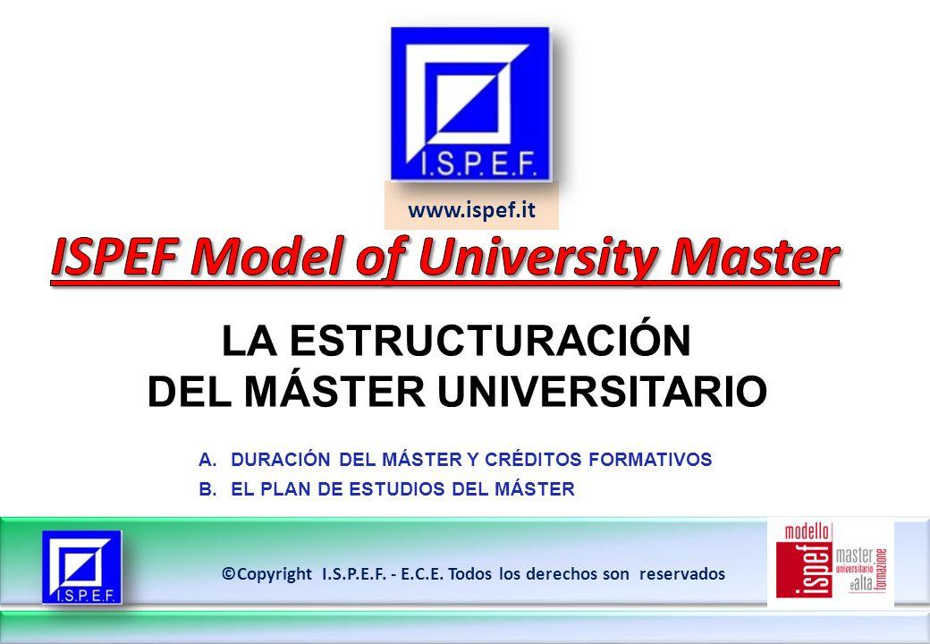 www.ispef.it LA ESTRUCTURACIÓN DEL MÁSTER UNIVERSITARIO ©Copyright I.S.P.E.F.