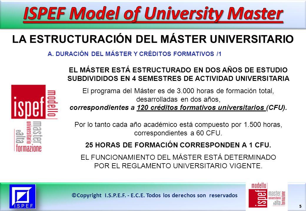 5 LA ESTRUCTURACIÓN DEL MÁSTER UNIVERSITARIO ©Copyright I.S.P.E.F.