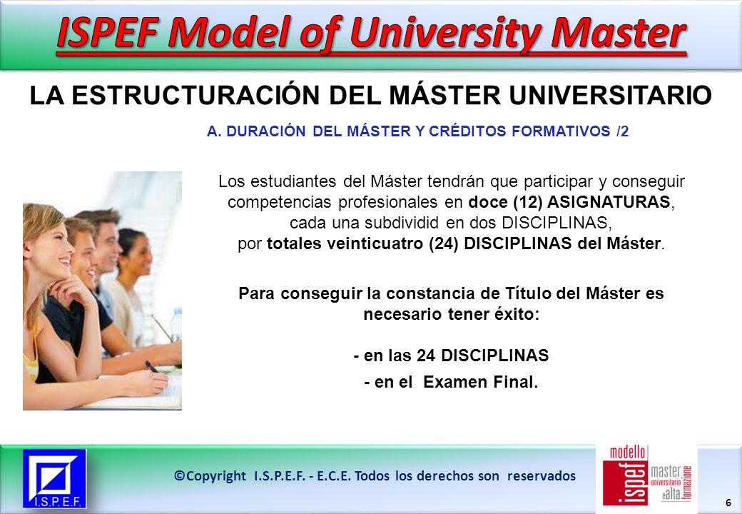 6 LA ESTRUCTURACIÓN DEL MÁSTER UNIVERSITARIO ©Copyright I.S.P.E.F.