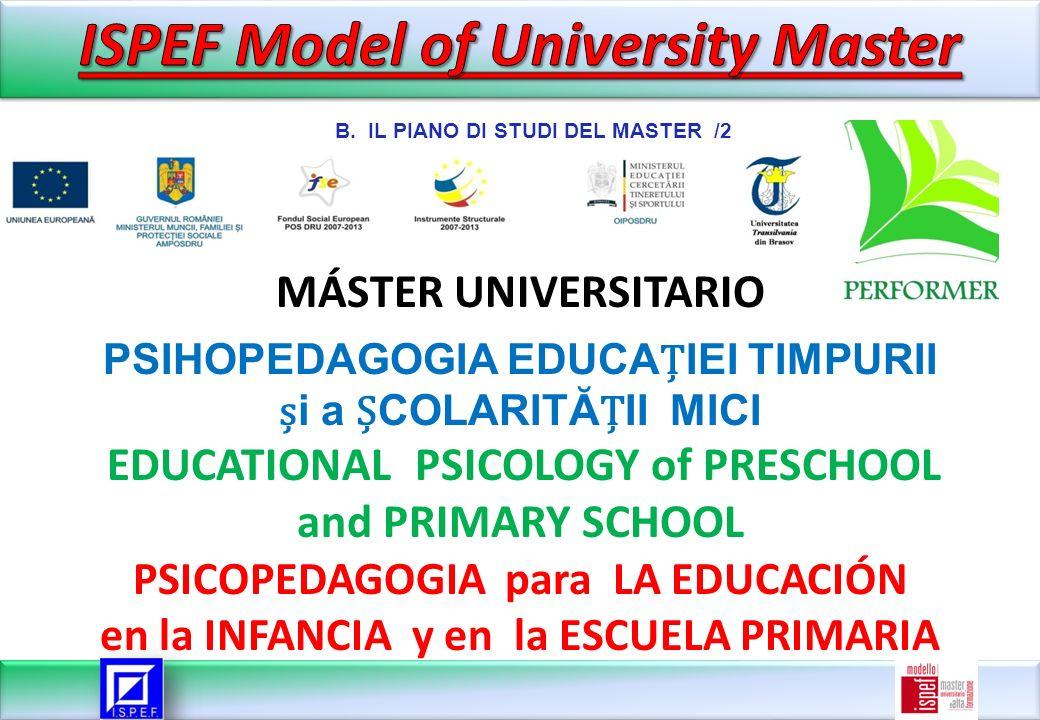 MÁSTER UNIVERSITARIO PSIHOPEDAGOGIA EDUCAIEI TIMPURII i a COLARITĂII MICI EDUCATIONAL PSICOLOGY of PRESCHOOL and PRIMARY SCHOOL PSICOPEDAGOGIA para LA EDUCACIÓN en la INFANCIA y en la ESCUELA PRIMARIA B.