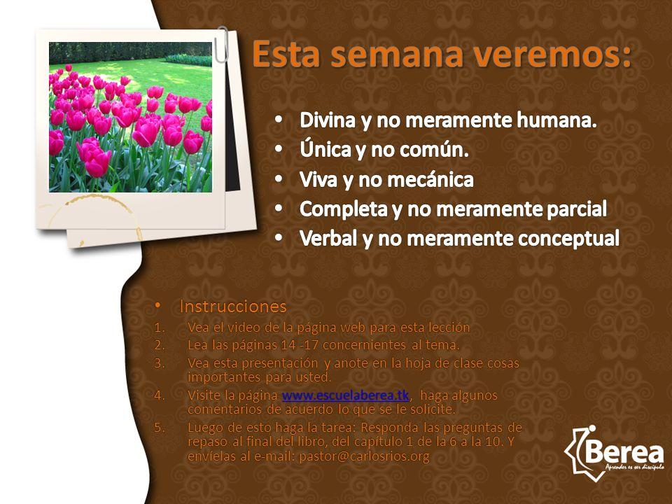Instrucciones Instrucciones 1.Vea el video de la página web para esta lección 2.Lea las páginas 14 -17 concernientes al tema.