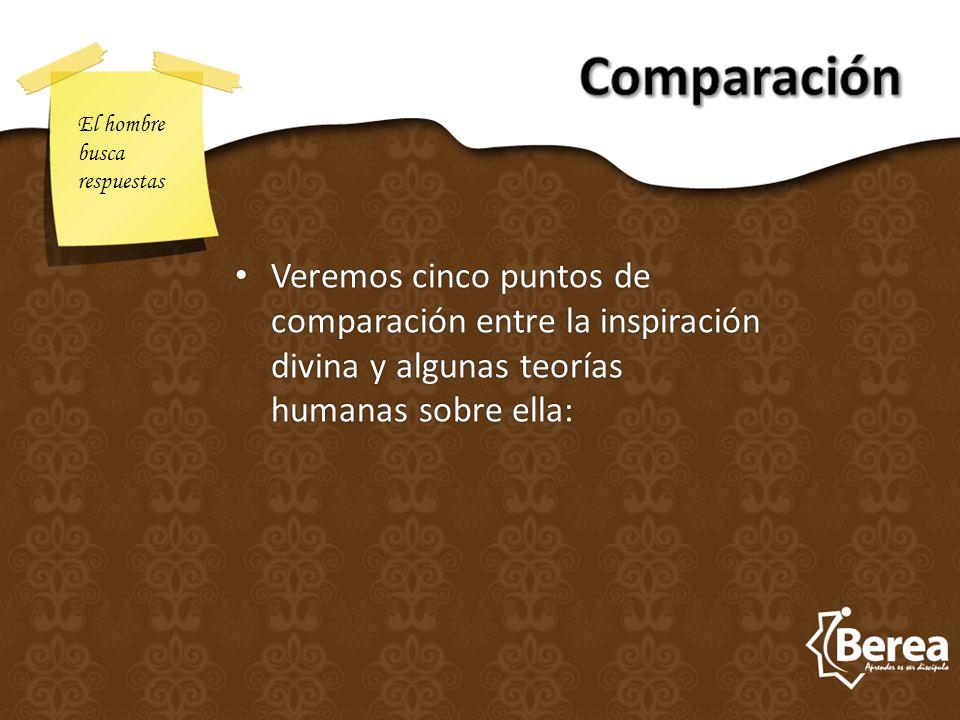 Veremos cinco puntos de comparación entre la inspiración divina y algunas teorías humanas sobre ella: Veremos cinco puntos de comparación entre la ins