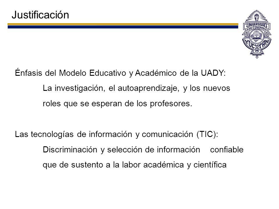 Justificación Énfasis del Modelo Educativo y Académico de la UADY: La investigación, el autoaprendizaje, y los nuevos roles que se esperan de los prof