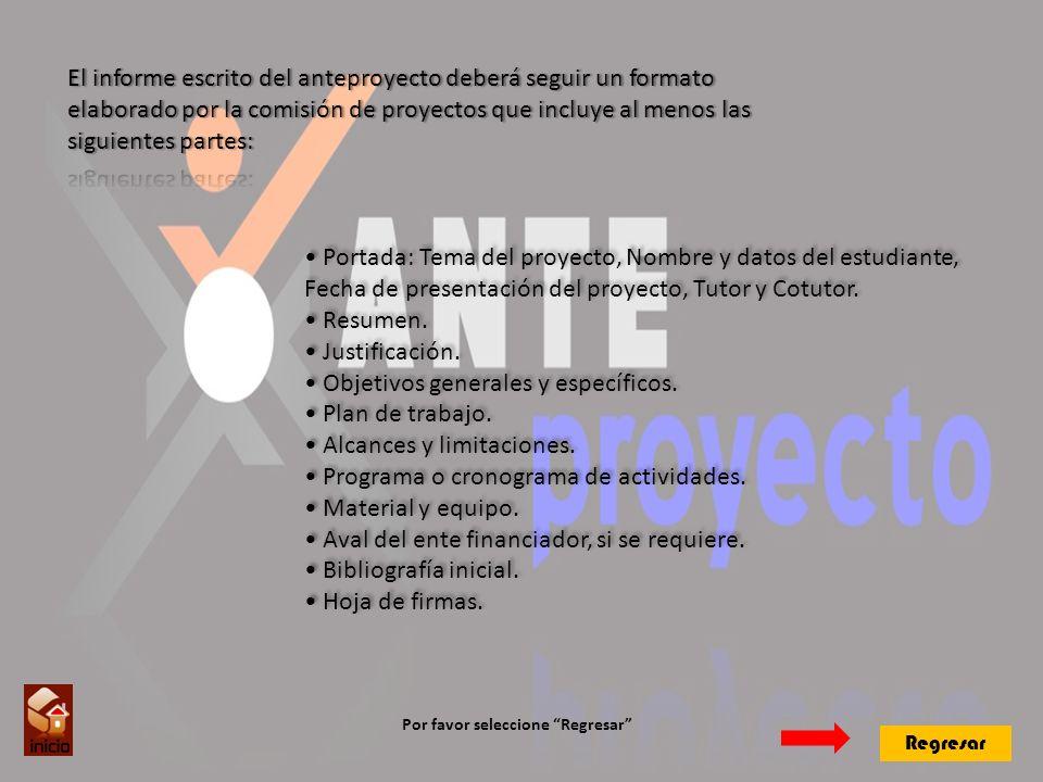 Portada: Tema del proyecto, Nombre y datos del estudiante, Fecha de presentación del proyecto, Tutor y Cotutor.