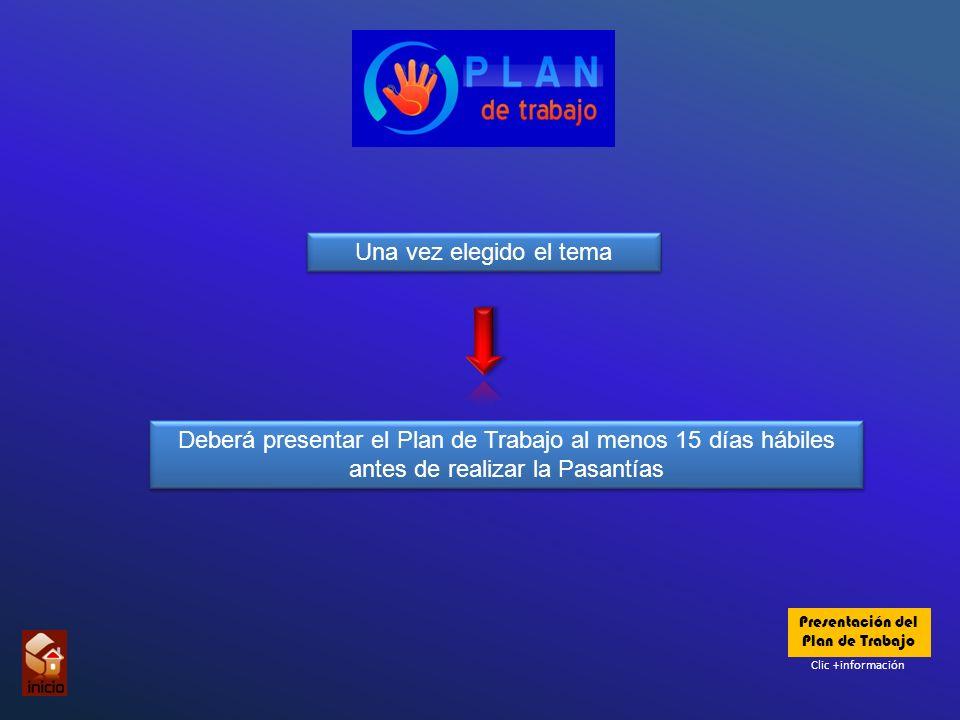 Una vez elegido el tema Una vez elegido el tema Deberá presentar el Plan de Trabajo al menos 15 días hábiles antes de realizar la Pasantías Clic +información Presentación del Plan de Trabajo