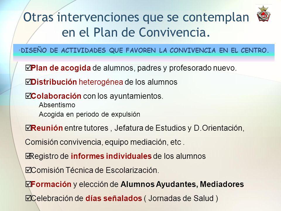 Otras intervenciones que se contemplan en el Plan de Convivencia. DISEÑO DE ACTIVIDADES QUE FAVOREN LA CONVIVENCIA EN EL CENTRO. Plan de acogida de al