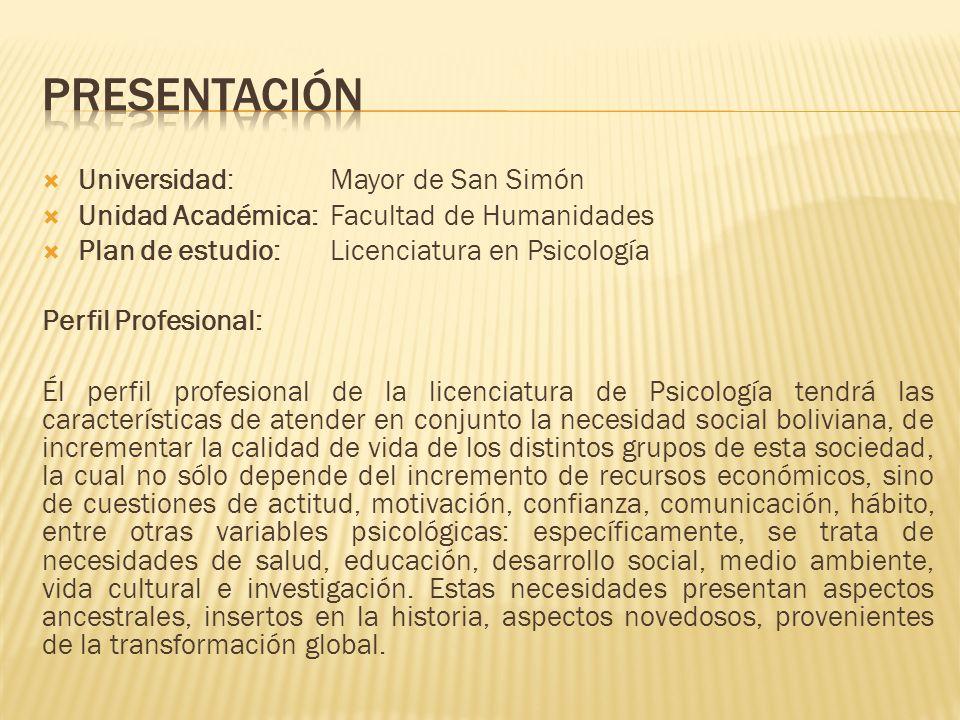 Universidad:Mayor de San Simón Unidad Académica:Facultad de Humanidades Plan de estudio:Licenciatura en Psicología Perfil Profesional: Él perfil profe