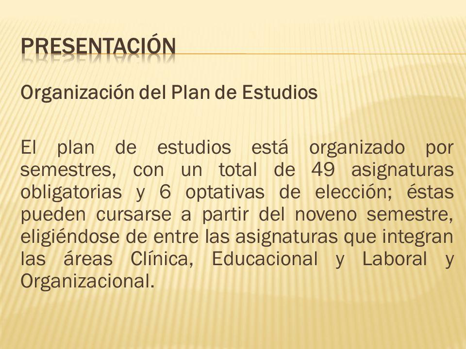 Organización del Plan de Estudios El plan de estudios está organizado por semestres, con un total de 49 asignaturas obligatorias y 6 optativas de elec