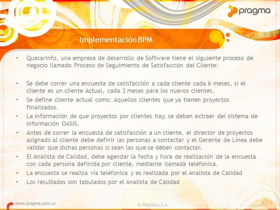 Implementación BPM © PRAGMA S.A. 3 Quasarinfo, una empresa de desarrollo de Software tiene el siguiente proceso de negocio llamado Proceso de Seguimie