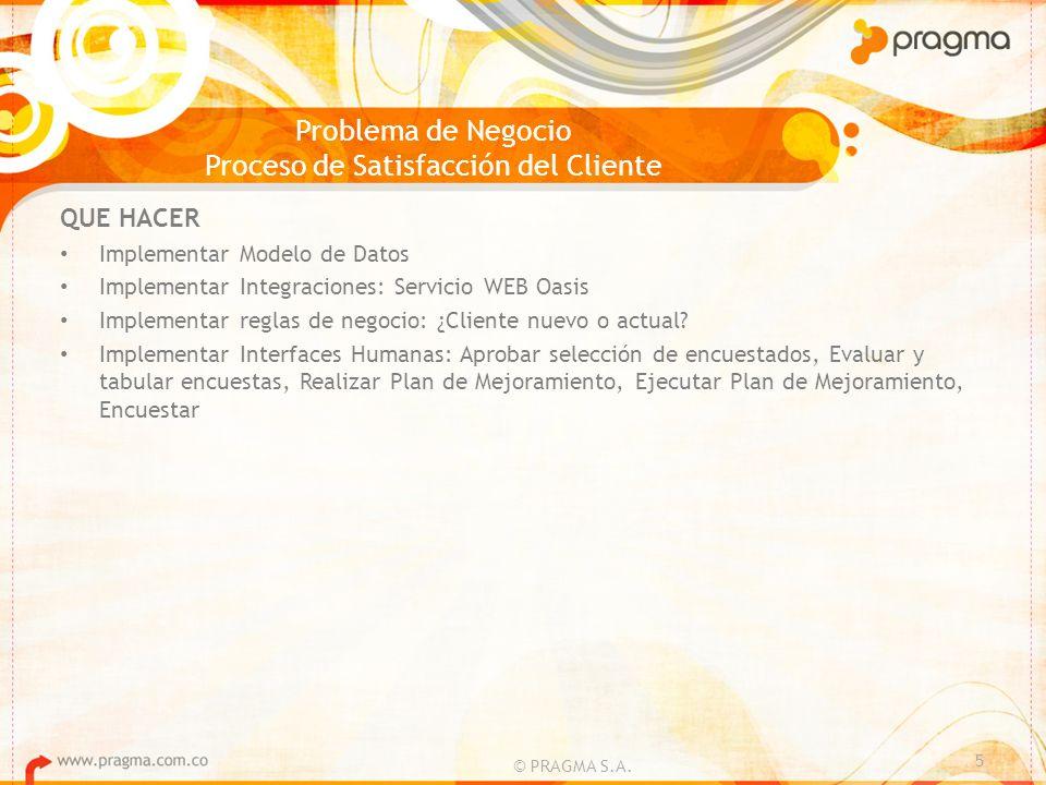 Problema de Negocio Proceso de Satisfacción del Cliente © PRAGMA S.A. 5 QUE HACER Implementar Modelo de Datos Implementar Integraciones: Servicio WEB