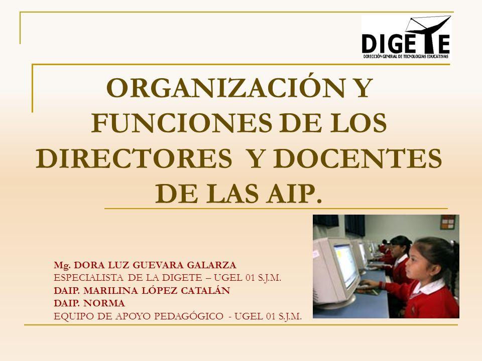 ORGANIZACIÓN Y FUNCIONES DE LOS DIRECTORES Y DOCENTES DE LAS AIP. Mg. DORA LUZ GUEVARA GALARZA ESPECIALISTA DE LA DIGETE – UGEL 01 S.J.M. DAIP. MARILI