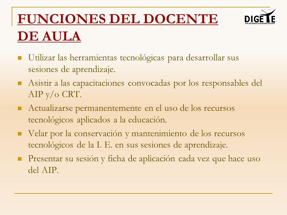 FUNCIONES DEL DOCENTE DE AULA Utilizar las herramientas tecnológicas para desarrollar sus sesiones de aprendizaje. Asistir a las capacitaciones convoc