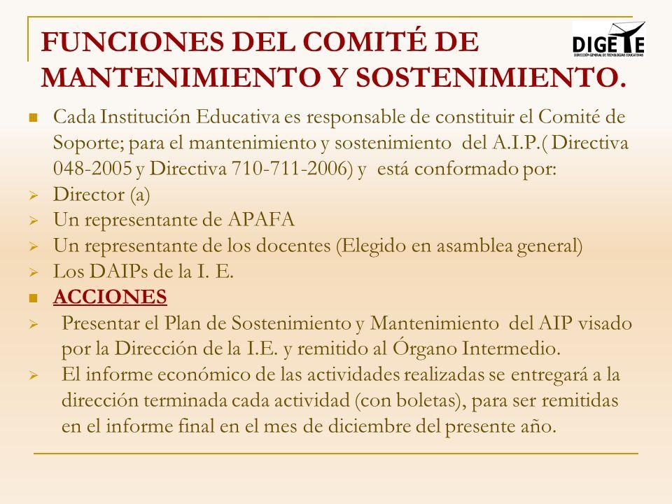 FUNCIONES DEL COMITÉ DE MANTENIMIENTO Y SOSTENIMIENTO. Cada Institución Educativa es responsable de constituir el Comité de Soporte; para el mantenimi