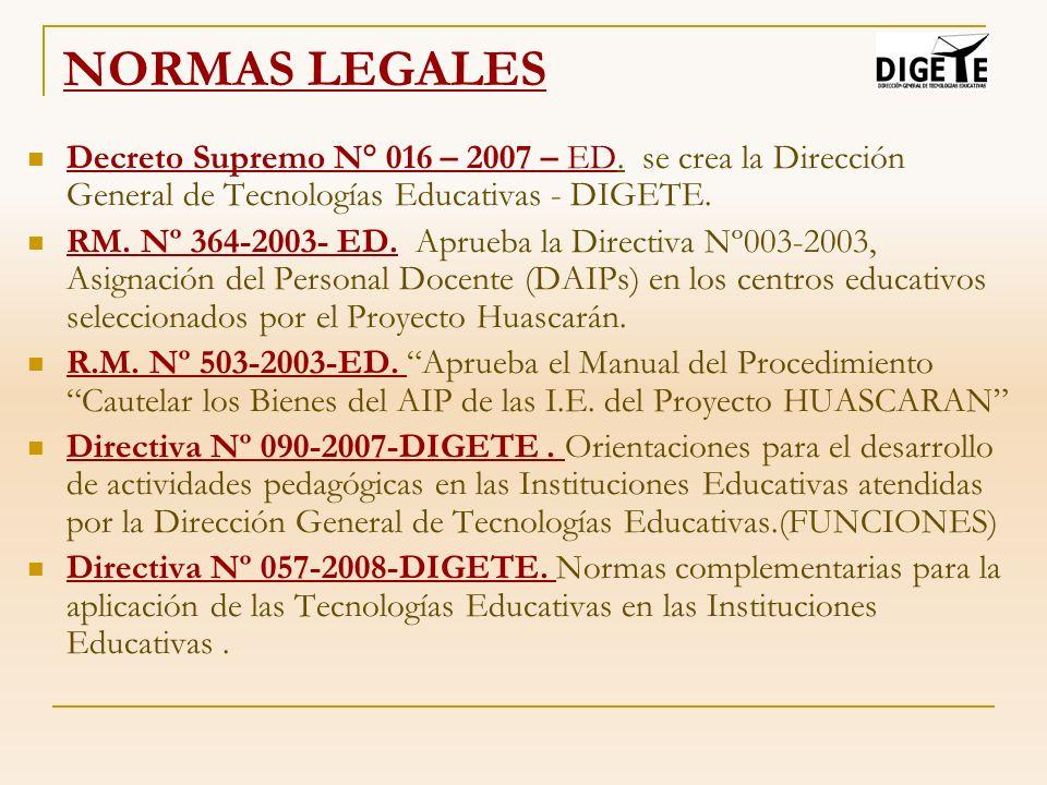 NORMAS LEGALES Decreto Supremo N° 016 – 2007 – ED. se crea la Dirección General de Tecnologías Educativas - DIGETE. RM. Nº 364-2003- ED. Aprueba la Di