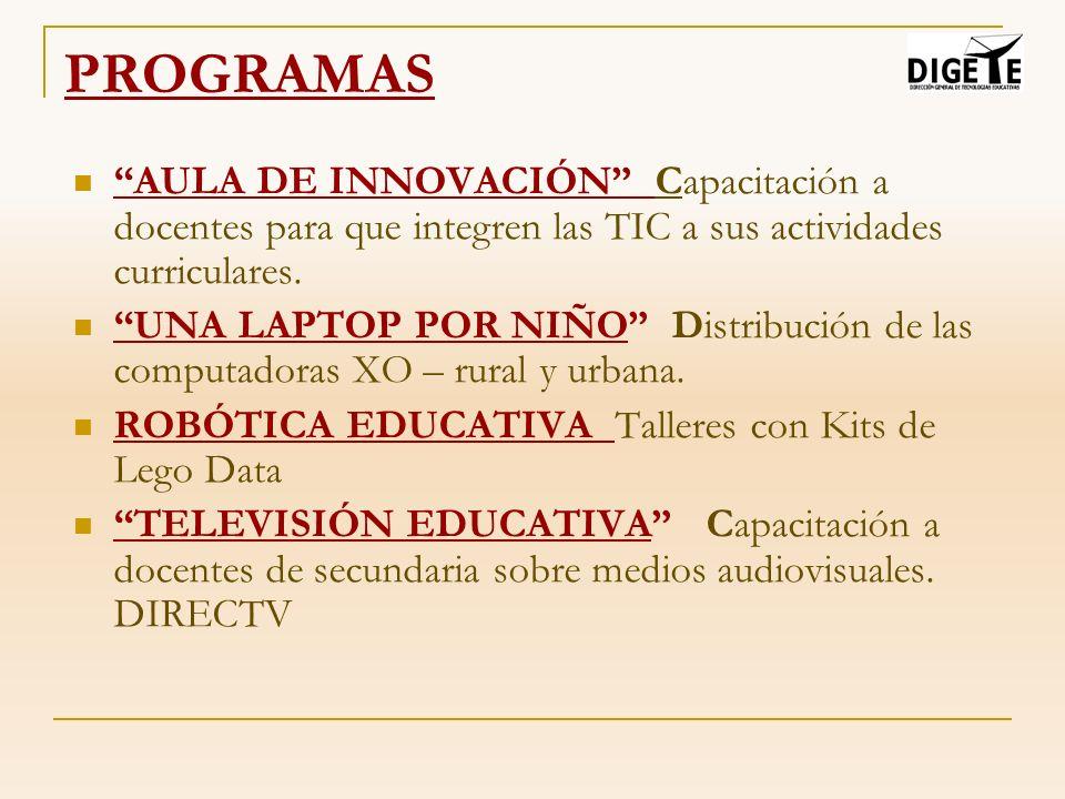 AULA DE INNOVACIÓN PEDAGÓGICA El Aula de Innovación Pedagógica es el escenario de aprendizaje en el que las TIC se integran en las actividades pedagógicas, permitiendo el desarrollo de las capacidades fundamentales y de los contenidos de las áreas curriculares en los estudiantes y docentes.