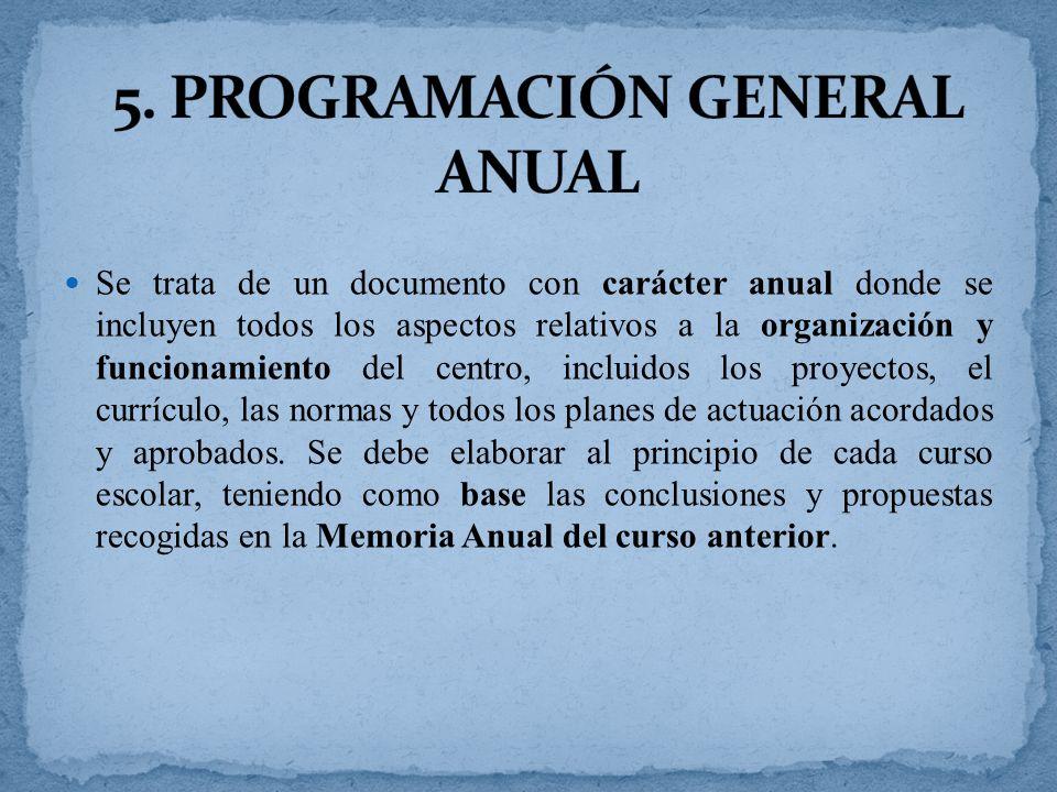 Se trata de un documento con carácter anual donde se incluyen todos los aspectos relativos a la organización y funcionamiento del centro, incluidos los proyectos, el currículo, las normas y todos los planes de actuación acordados y aprobados.