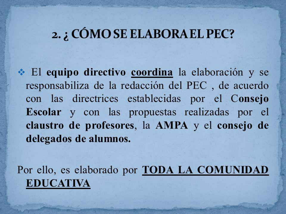 El equipo directivo coordina la elaboración y se responsabiliza de la redacción del PEC, de acuerdo con las directrices establecidas por el Consejo Escolar y con las propuestas realizadas por el claustro de profesores, la AMPA y el consejo de delegados de alumnos.