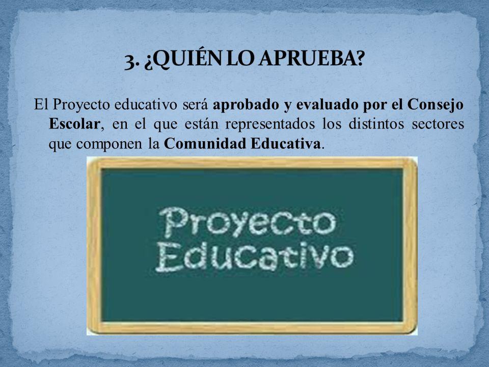 El Proyecto educativo será aprobado y evaluado por el Consejo Escolar, en el que están representados los distintos sectores que componen la Comunidad Educativa.
