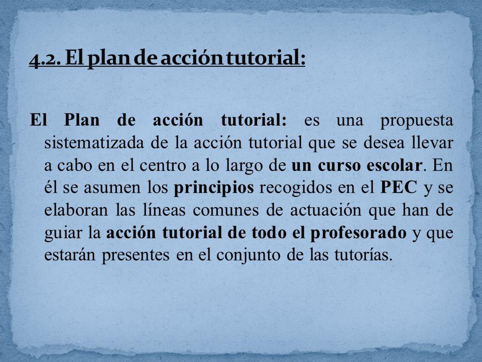 El Plan de acción tutorial: es una propuesta sistematizada de la acción tutorial que se desea llevar a cabo en el centro a lo largo de un curso escola