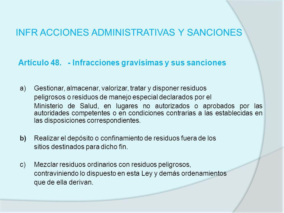 INFR ACCIONES ADMINISTRATIVAS Y SANCIONES Artículo 48. - Infracciones gravísimas y sus sanciones a)Gestionar, almacenar, valorizar, tratar y disponer