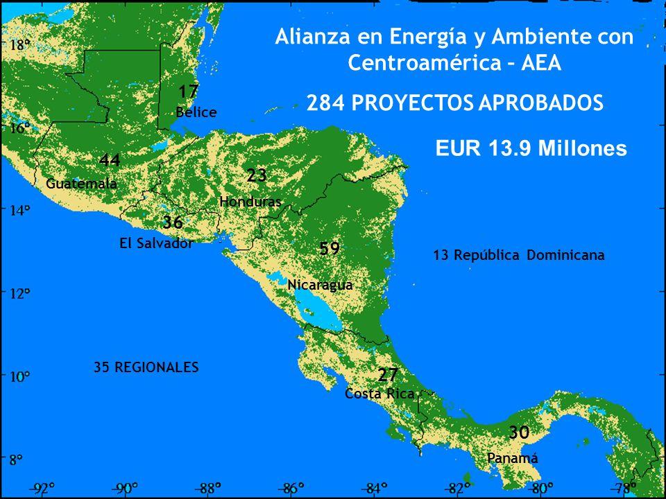 ENERGY AND ENVIRONMENT PARTNERSHIP WITH CENTRAL AMERICA Alianza en Energía y Ambiente con Centroamérica – AEA 284 PROYECTOS APROBADOS 17 44 23 36 59 3