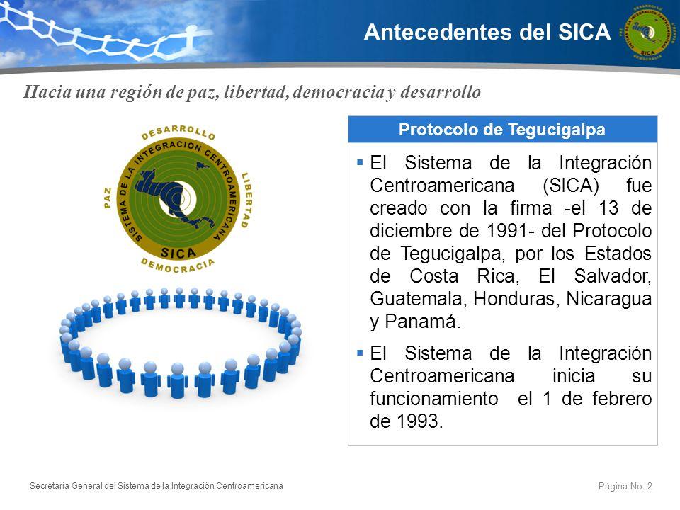 Secretaría General del Sistema de la Integración Centroamericana Antecedentes del SICA Hacia una región de paz, libertad, democracia y desarrollo Prot