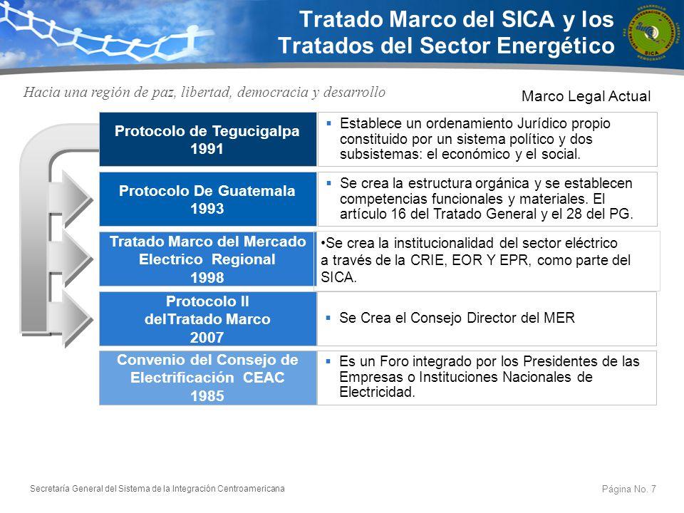 Secretaría General del Sistema de la Integración Centroamericana Tratado Marco del SICA y los Tratados del Sector Energético Hacia una región de paz,