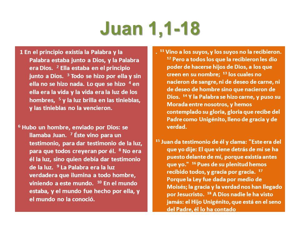 Juan 1,1-18 1 En el principio existía la Palabra y la Palabra estaba junto a Dios, y la Palabra era Dios.