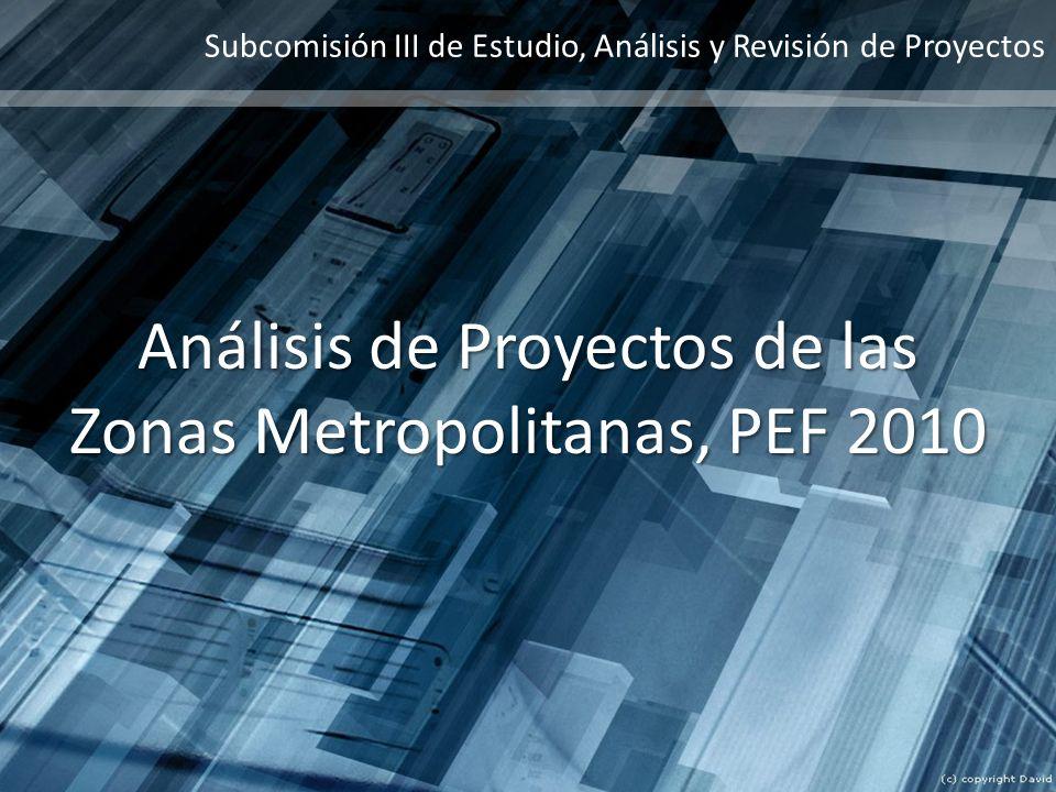 Subcomisión III de Estudio, Análisis y Revisión de Proyectos Análisis de Proyectos de las Zonas Metropolitanas, PEF 2010