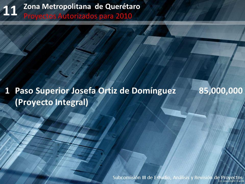 11 Subcomisión III de Estudio, Análisis y Revisión de Proyectos Zona Metropolitana de Querétaro Proyectos Autorizados para 2010 1Paso Superior Josefa