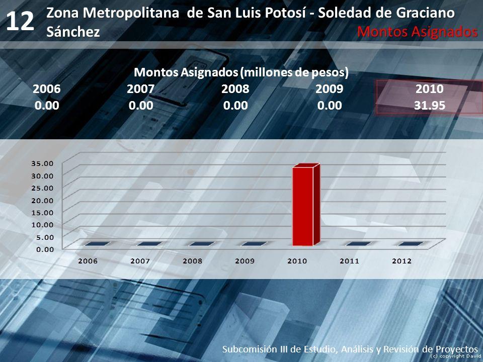 12 Montos Asignados (millones de pesos) 20062007200820092010 0.00 31.95 Subcomisión III de Estudio, Análisis y Revisión de Proyectos Zona Metropolitan