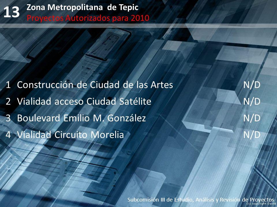 13 Subcomisión III de Estudio, Análisis y Revisión de Proyectos Zona Metropolitana de Tepic Proyectos Autorizados para 2010 1Construcción de Ciudad de