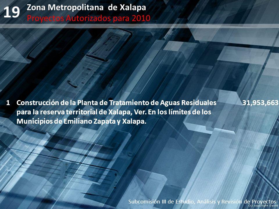 19 Subcomisión III de Estudio, Análisis y Revisión de Proyectos Zona Metropolitana de Xalapa Proyectos Autorizados para 2010 1Construcción de la Plant