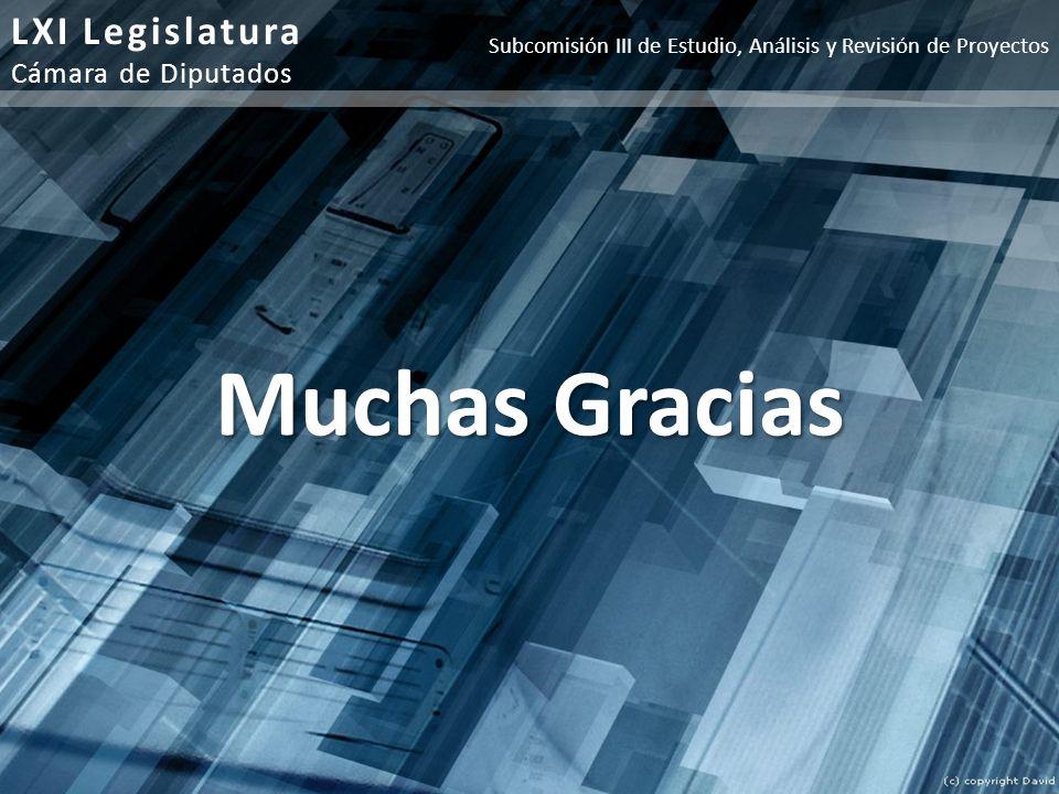 Muchas Gracias LXI Legislatura Cámara de Diputados Subcomisión III de Estudio, Análisis y Revisión de Proyectos