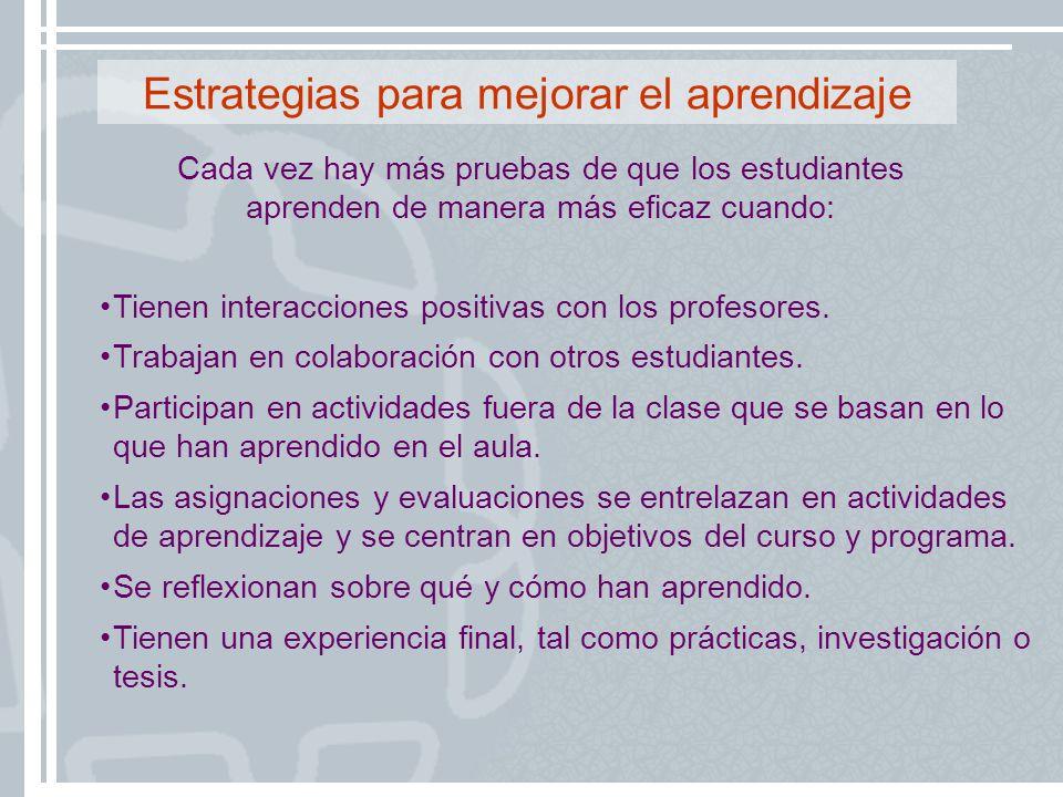Estrategias para mejorar el aprendizaje Tienen interacciones positivas con los profesores. Trabajan en colaboración con otros estudiantes. Participan