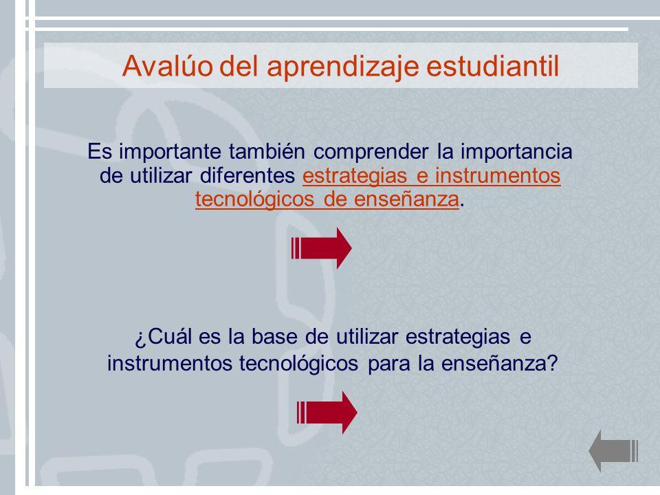 ¿Cuál es la base de utilizar estrategias e instrumentos tecnológicos para la enseñanza? Avalúo del aprendizaje estudiantil Es importante también compr