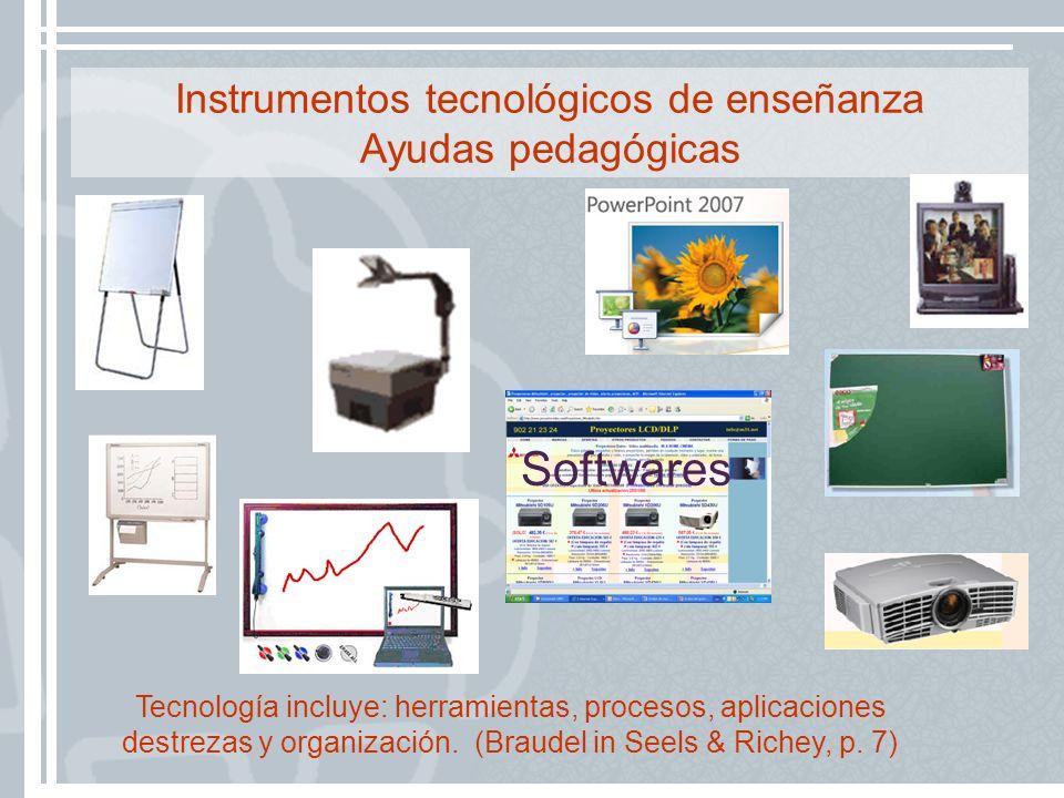 Instrumentos tecnológicos de enseñanza Ayudas pedagógicas Softwares Tecnología incluye: herramientas, procesos, aplicaciones destrezas y organización.