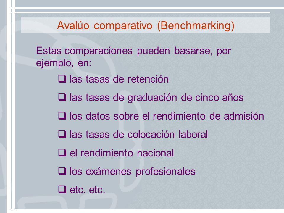Estas comparaciones pueden basarse, por ejemplo, en: las tasas de retención las tasas de graduación de cinco años los datos sobre el rendimiento de ad