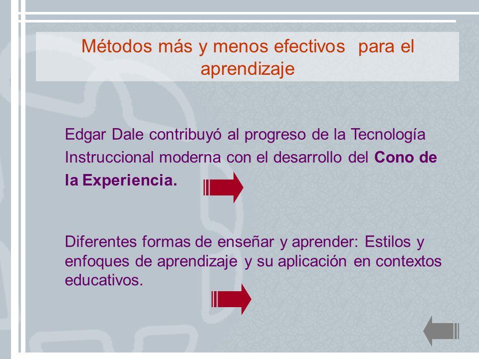 Edgar Dale contribuyó al progreso de la Tecnología Instruccional moderna con el desarrollo del Cono de la Experiencia. Métodos más y menos efectivos p